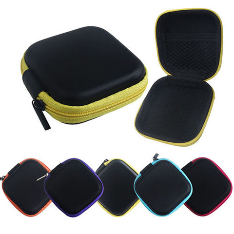 2016 Storage Bag Box! Stereo Leather Earphone Zipper Earphone In Ear Earbuds with Carrying Case Mini Storage Bag Free Shipping