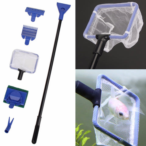 5Pcs/set Aquarium Cleaning Kit Fish Net Tank Gravel Rake Algae Scraper Fork Sponge Brush Glass Aquatic Cleaning Tools