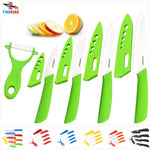 "FINDKING Beauty Gifts Zirconia kitchen green color knife set Ceramic Knife Set 3"" 4"" 5"" 6"" inch+peeler+Covers"