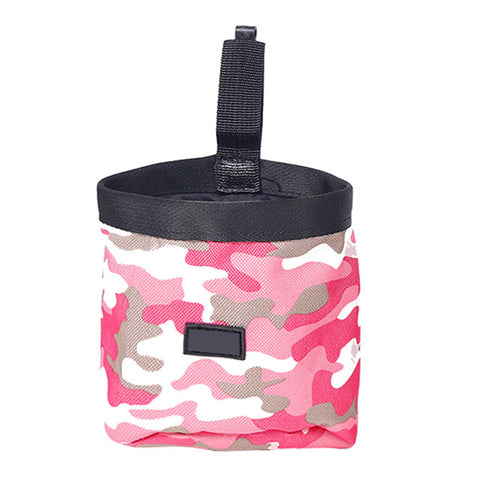 Pet Dog Walking Food Treat Snack Bag Agility Bait Training Pockets Waist Storage Hold Food Container Pouch Camouflage Green/Pink
