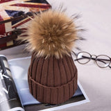 HEE GRAND 2018 Winter Wool Knitted Beanies Caps Fashion Women Fur Pompom Beanie Hats Red Thick Christmas Hats For Women  PMM301