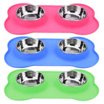 Double Dog Bowls Stainless Steel Bone Shape Food Container for Dogs Feeding Food Eating Bowls Anti Slip Pet Feeding Feeder
