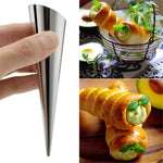 4 PCS Cone-shape Stainless Steel Danish Pipe Danish Big Spiral Tube Croissants Mould Spiral Bread Croissants Molds