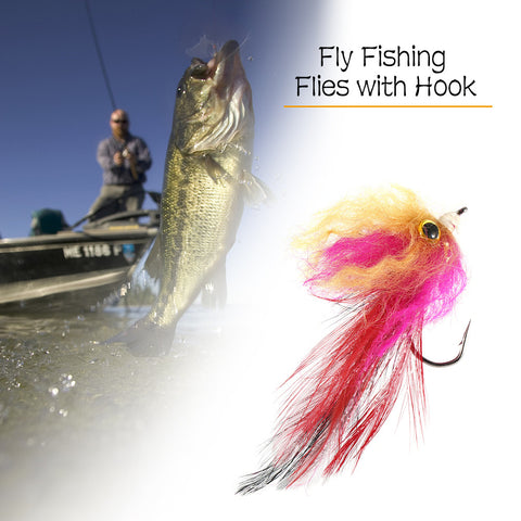 Fly Fishing Streamer Steel Head Fly Fishing Flies with Hook Long Feather Tails 3D Eye Fishing Baits