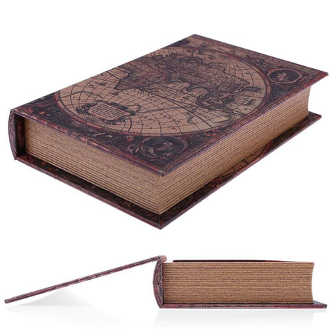 Wooden Storage Box Retro European Style World map Security Safe Book Cash Money Jewelery Organizer Box Caixa De Armazenamento