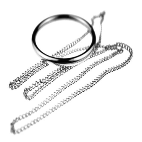 Magic Ring and Chain Cool Magic Trick Props Metal Knot Ring On Chain