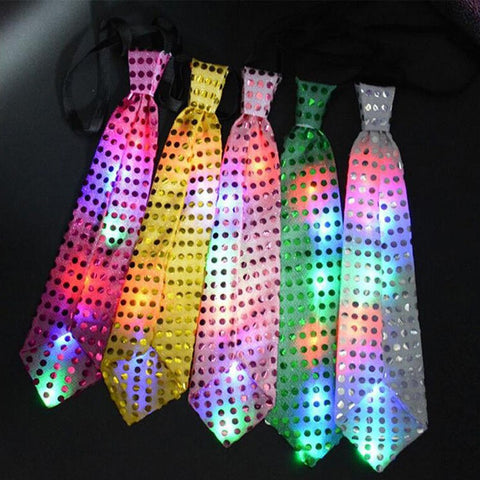 New Flashing Light Up Bow Tie Necktie LED Mens Party Lights Sequins Bowtie Wedding