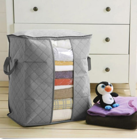 Foldable Storage Bag Bamboo Charcoal Fiber Clothes Sweater Blanket Closet Organizer Bag