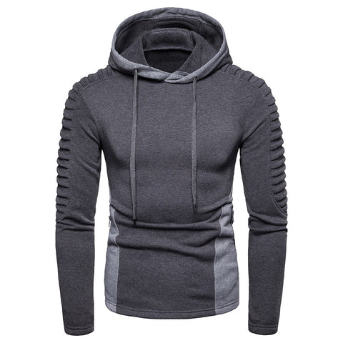 Men Hoodies Long Sleeve Sweatshirt Fashion Fold Zipper Pocket Cotton Puoover Casual Hip Hop