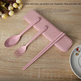 3 PCS Portable Wheat Straw Flatware Spoon Chopsticks Fork with Travel Case Set