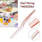 13.9cm/5.47inch Professional Chef Plating Tweezer Tongs Serving Presentation Stainless Steel Offset Kitchen Tool Rose Gold