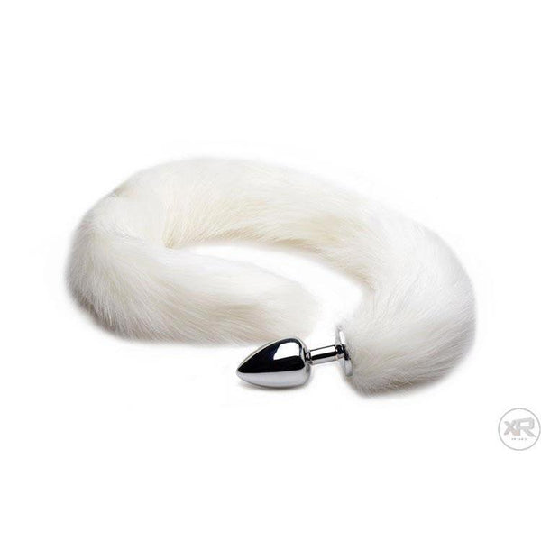 White Extra Long Mink Tail with Metal Anal Plug