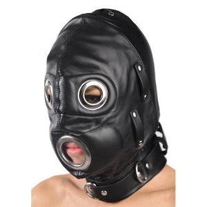 Bondage Gear, Bondage Hood - Bondage Gag Hood with Metal Eyes | BoyzShop