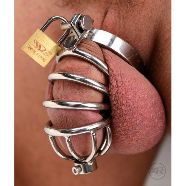 Stainless Steel Chastity Cage with Urethral Insert