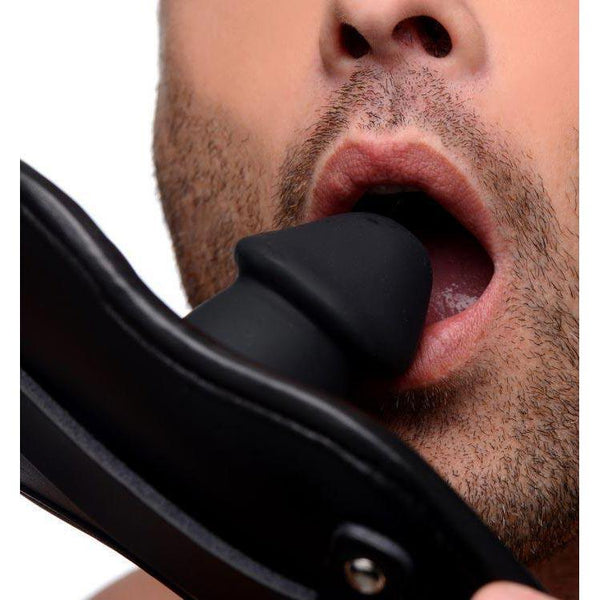 Leather Padded Silicone Penis Mouth Gag