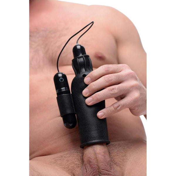 Lightning Stroke Silicone Stroker With Vibrating Bullet