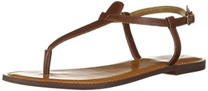 206 Collective Women's Cameron Flat Thong Sandal, Cognac Leather, 5.5 B US - Shoes Direct