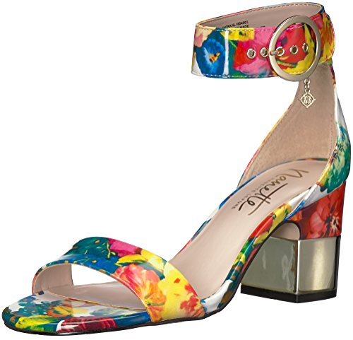 Nanette Lepore Women's Thora Heeled Sandal, Pink Floral - Shoes Direct