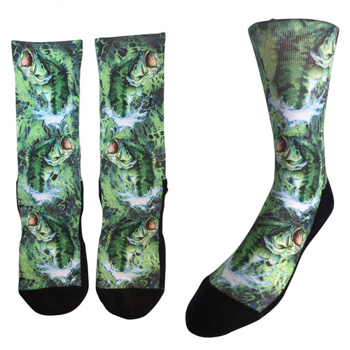 Original Large Mouth Bass Artwork Socks by Stacie Walker - Shoes Direct