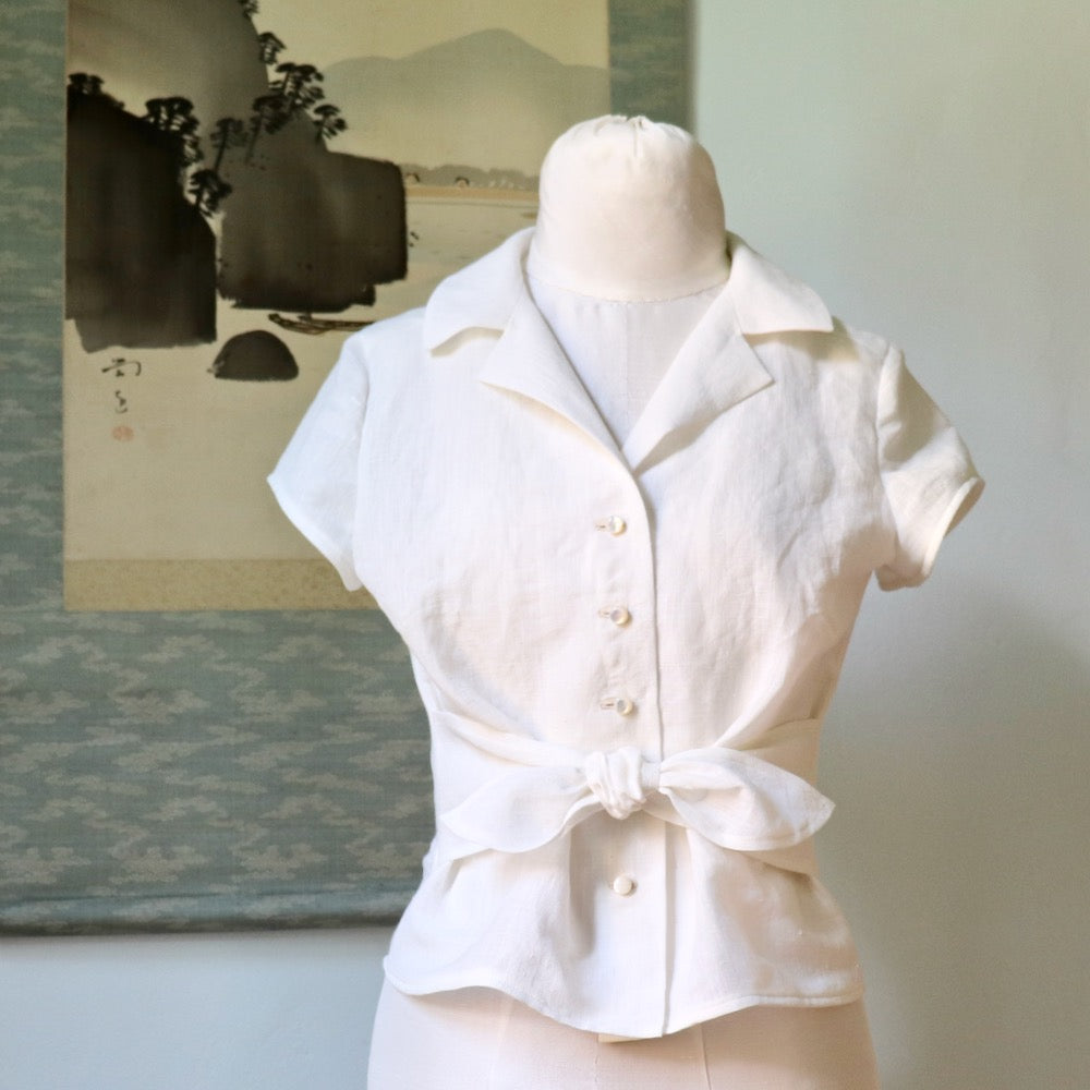 Pattern Hack: Retro Tie Blouse in Handwoven Linen: Part I