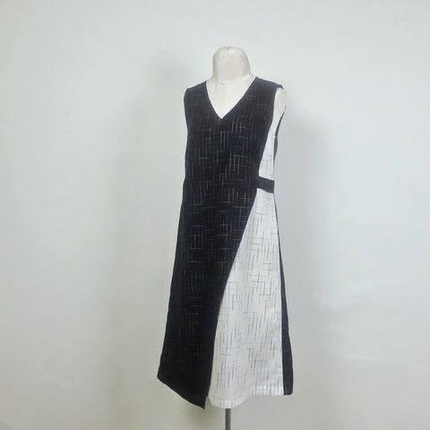 Asymmetric Dress in Disappearing Checks hand woven cotton from Loom and Stars