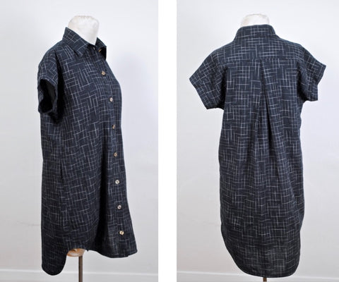 Kalle Shirtdress in Disappearing Checks handloom cotton fabric