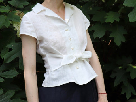 Retro Tie Blouse pattern hack by Loom and Stars