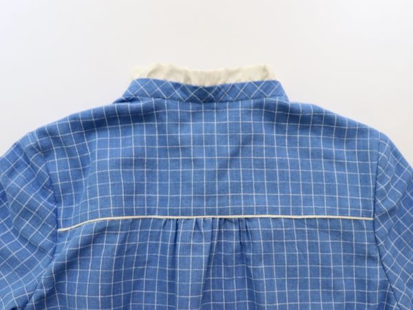 blue and white checked dress with white piping