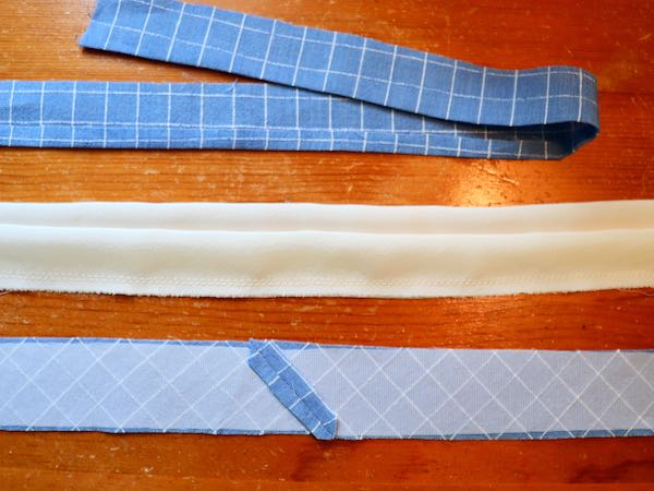 collar band cut on bias and interfaced