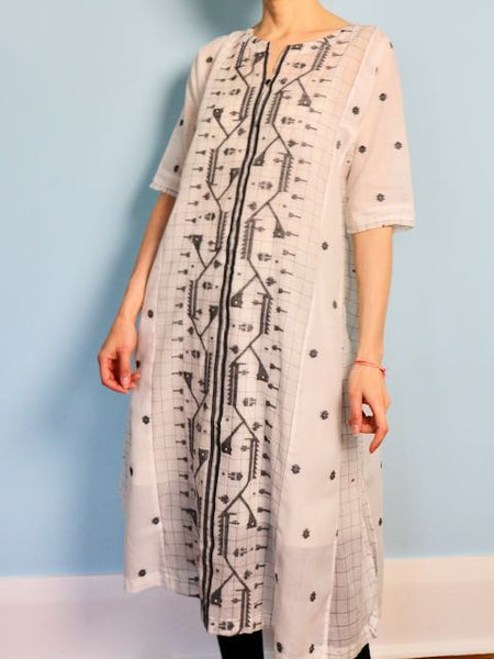 how to sew a sustainable jamdani dress by Loom and Stars