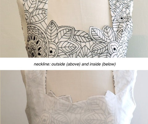 Shaped neckline inside and outside