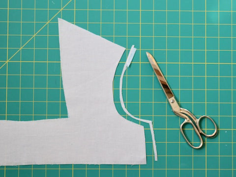 trim the edge of facing to allow for the turn of the cloth