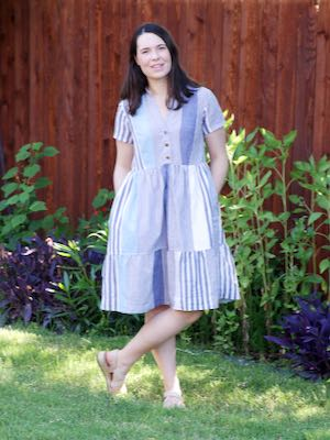 Myosotis Dress in Blue and White Striped Cotton sewn by Dixie