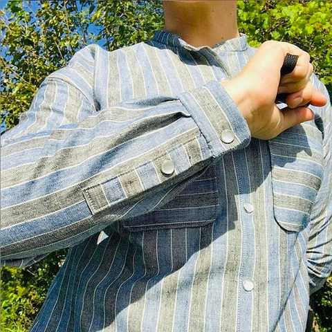 pearl snaps on striped cotton shirt