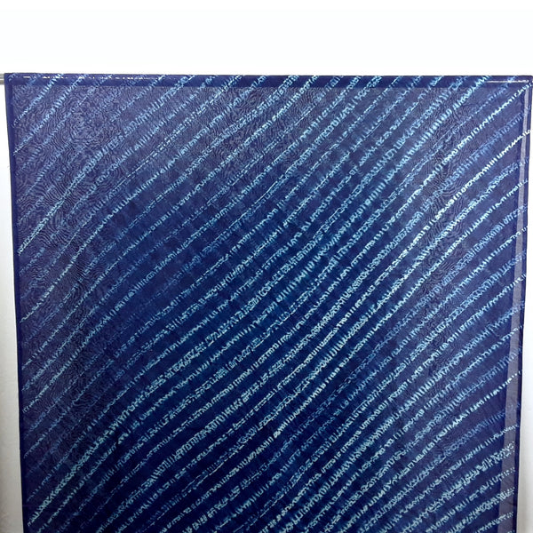 Blue Diagonals Shibori Silk/Cotton
