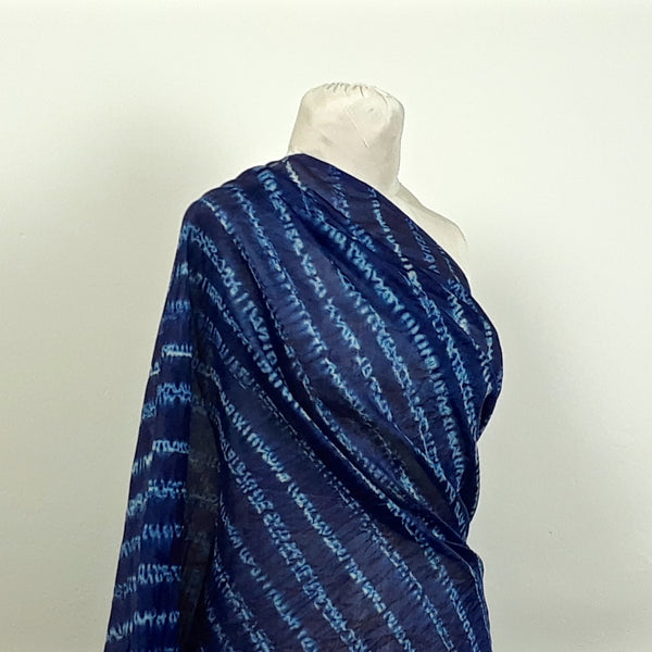 Blue Hand-dyed Shibori Silk and Cotton Fabric