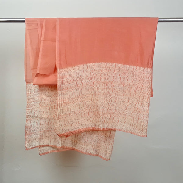 Coral Hand-Dyed Shibori Silk and Cotton Fabric