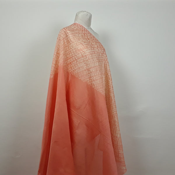 Coral Stripes Shibori Silk and Cotton Fabric
