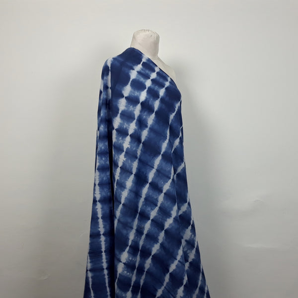 Blue and White Stripe Indigo Shibori Fabric