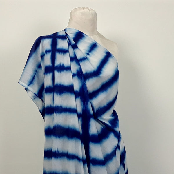 Blue Lines Indigo Shibori Cotton Fabric