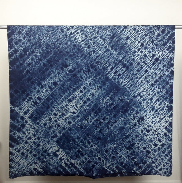 Blue and White Shibori Cotton Hand-dyed Fabric