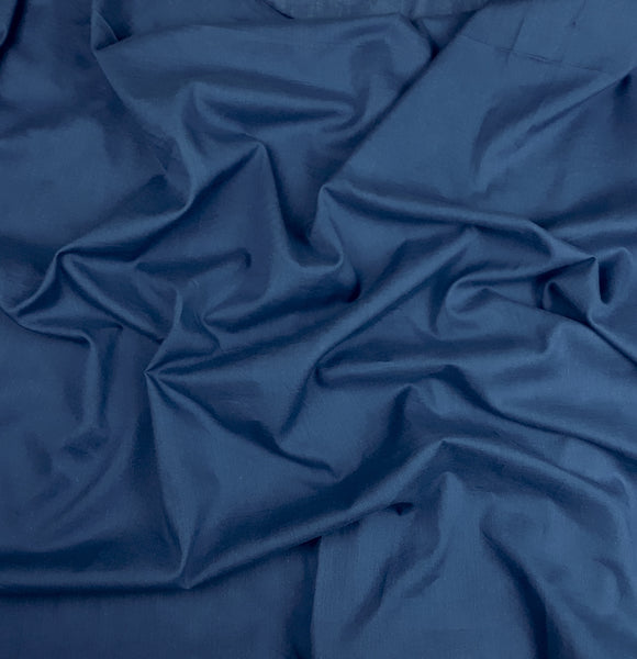 Deep Indigo Blue Cotton Voile Fabric