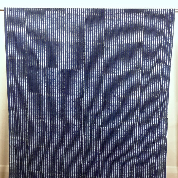 Blue and White Stripe Hand Block Print Cotton Fabric