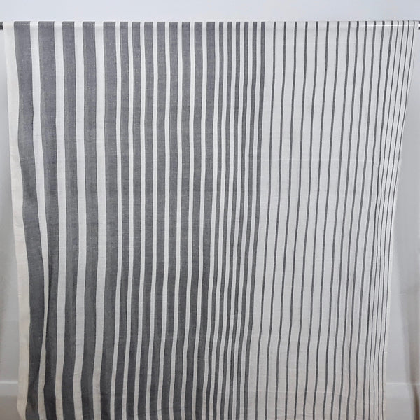 black and white striped sheer cotton dressmaking fabric