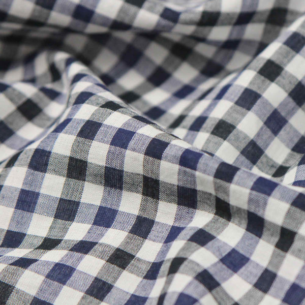 Black Gingham Handloom Cotton Shirting Fabric