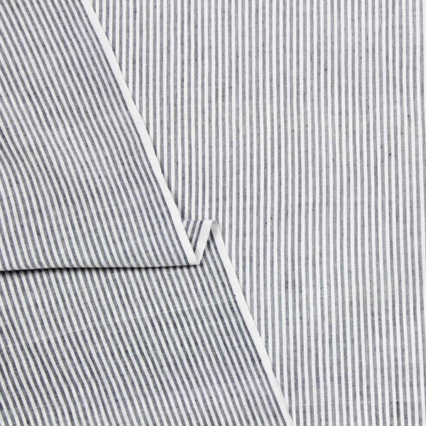 Fine Grey Stripe Hand Woven Cotton Fabric