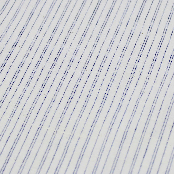 Pinstripe Handloom Khadi Cotton Fabric Blue and White