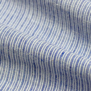 Uneven Stripe Handloom Khadi Cotton - White on Blue
