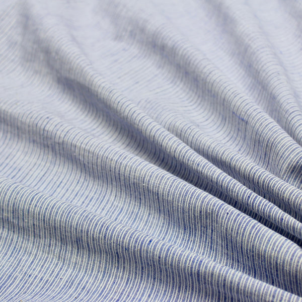 Blue and White Stripe Handwoven Khadi Cotton Fabric
