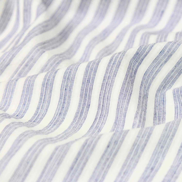 Swatch - Airy Stripe Blue and White Handloom Cotton